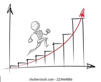 Sparse vector illustration of a of a generic cartoon character up an exponential growth chart.