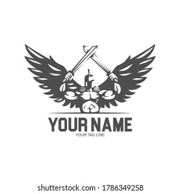 spartan angel with two sword logo vector illustration