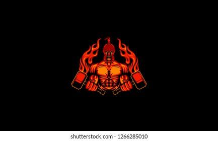 Spartan With Fire Hammer Mascot Logo Vector