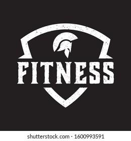 spartan fitness logo vector vitange design shield