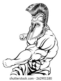 Spartan or gladiator mascot character or sports mascot fighting punching with a fist