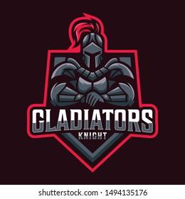 spartan gladiator mascot sport logo design vector