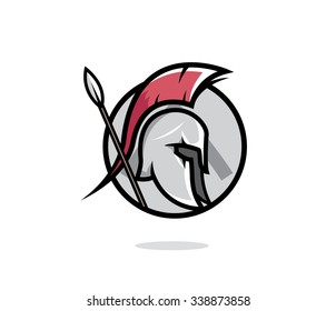 Spartan head badge illustration. Spartan helmet with a lance, shield in the background.