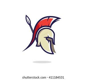 Spartan head badge illustration. Spartan helmet with a lance. Warrior symbol. Spartan logo. Spartan helmet. Spartan symbol. Spartan warrior. Spartan vector sign.