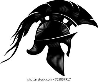 Spartan Helm Calligraphic Illustration