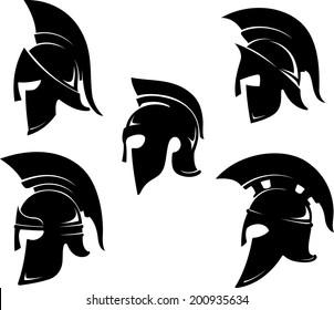 Spartan Helm Variations Set  in side view
