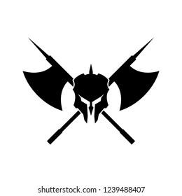 spartan helmet axes logo design