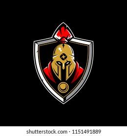 spartan helmet cartoon vector logo badge template