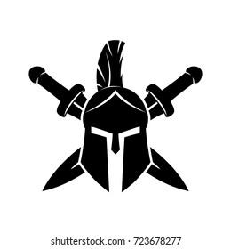 Spartan helmet and crossed swords.