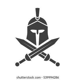 Spartan helmet. Crossed swords. Greek warrior.