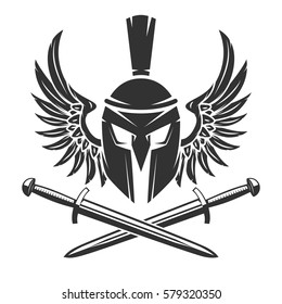Spartan helmet with crossed swords and wings isolated on white background. Vector illustration.