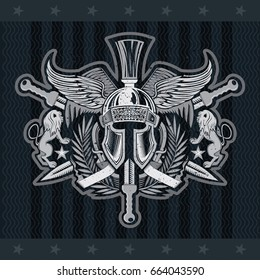 Spartan helmet front view with wings between wreath, crossed swords and lions. Heraldic vintage label on blackboard