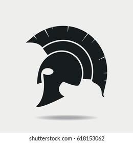 Spartan Helmet icon. Greek or Roman head armor for Gladiator, legionnaire. Vector illustration.