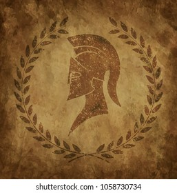 Spartan helmet an icon on old paper in style grunge, is issued in antique Greek style.