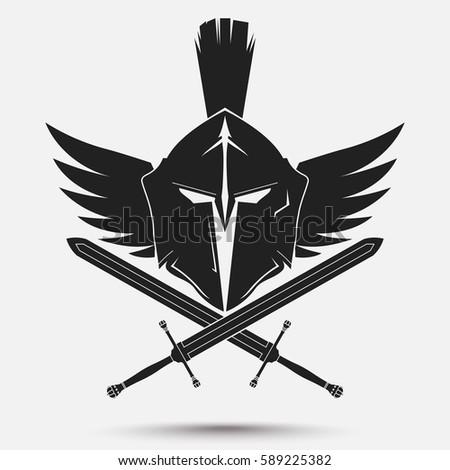 Spartan Helmet Logo Crossed Swords Wings