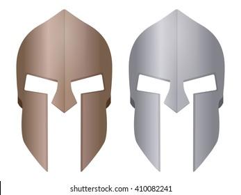Spartan helmet on a white background.