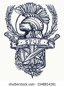 Spartan helmet, roman shield, crossed swords and laurel wreath. Ancient Rome tattoo. Soldier gladiator art. Italian history. Symbol of war, courage, strength
