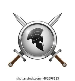 Spartan helmet, shield, sword, isolated on white, vector