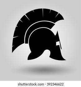 Spartan Helmet silhouette, symbol of gladiator soldier or greek warrior or roman legionary, hero sign, vector