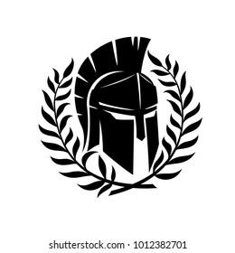 Spartan helmet and wreath.