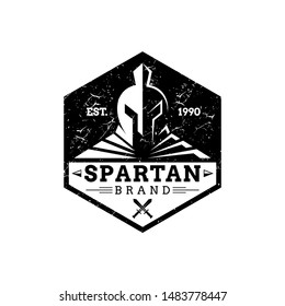 spartan hexagon emblem logo, vintage classic spartan head/helmet with grunge effect suitable for business and sport mascot