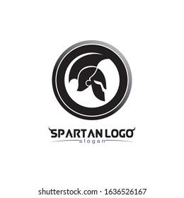 spartan logo black Glaiator and vector design helmet and head