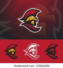 Spartan logo design. Warrior sport team symbol. Eps10 vector.