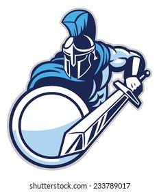 spartan mascot show his big sword