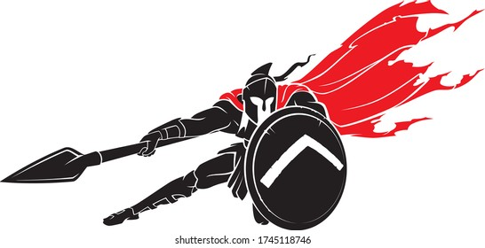 Spartan Medieval Warrior, with Red Cape