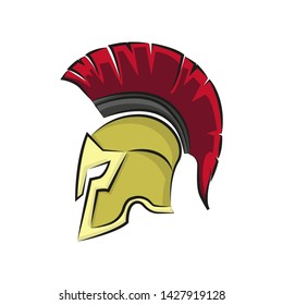 spartan military helmet in flat style, vector illustration