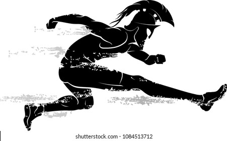 Spartan Race Athlete Leaping Silhouette
