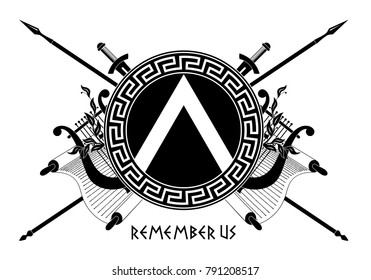 Spartan shield with Greek ornament. Remember us.