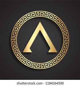spartan shield vith greece lambda symbol / 3d golden shape