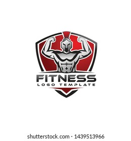 Spartan with shiled fitness logo vector design template