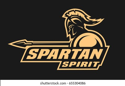 Spartan spirit. Symbol, logo on a dark background.