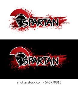 Spartan text designed with helmet warrior graphic vector.