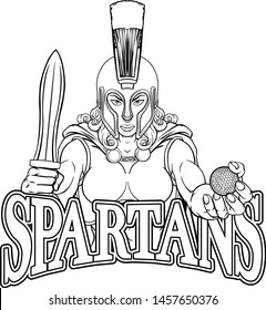 A Spartan or Trojan female gladiator warrior woman golf sports mascot