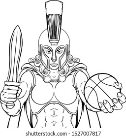 A Spartan or Trojan female gladiator warrior woman basketball sports mascot