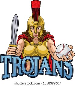 A Spartan or Trojan female gladiator warrior woman baseball sports mascot