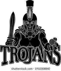 A Spartan or Trojan female gladiator warrior woman golf sports mascot
