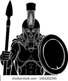 A Spartan or Trojan female warrior gladiator woman sports team mascot