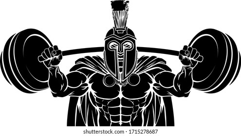 A Spartan or Trojan gladiator warrior weight lifting or body building sports mascot