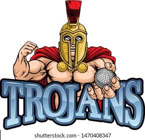 A Spartan or Trojan warrior Golf sports mascot holding a ball
