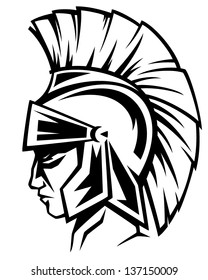 spartan warrior black and white vector profile - ancient soldier wearing a helmet