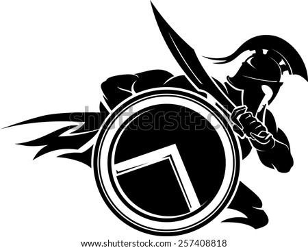 spartan warrior charging attack stock vector royalty free