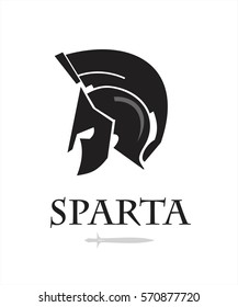 spartan warrior head. knight logo. trojan helmet