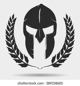 Spartan Warrior helmet, silhouette with laurel wreath,  Knight helmet, gladiator helmet icon. Vector trojan helmet