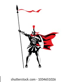 Spartan warrior in a helmet, with a spear and a shield. Vector illustration