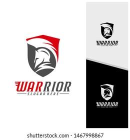 Spartan warrior logo design vector illustration. Warriors sport team logo design template.