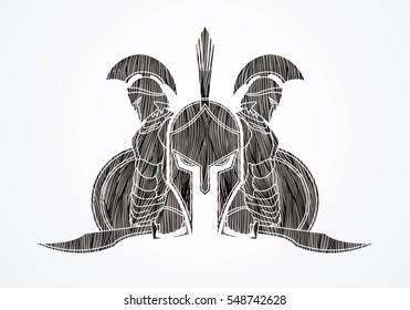 Spartan warrior pose designed using black grunge brush graphic vector.